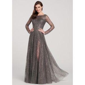 Ellie Wilde EW119003 Charcoal Gray Dress Sz 8 NWT